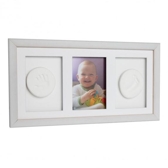 Trojitý fotorámik s odtlačkom Baby HandPrint- Biely