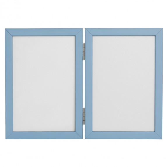 Inlea4Fun dvojitý fotorámik s odtlačkom - modrý