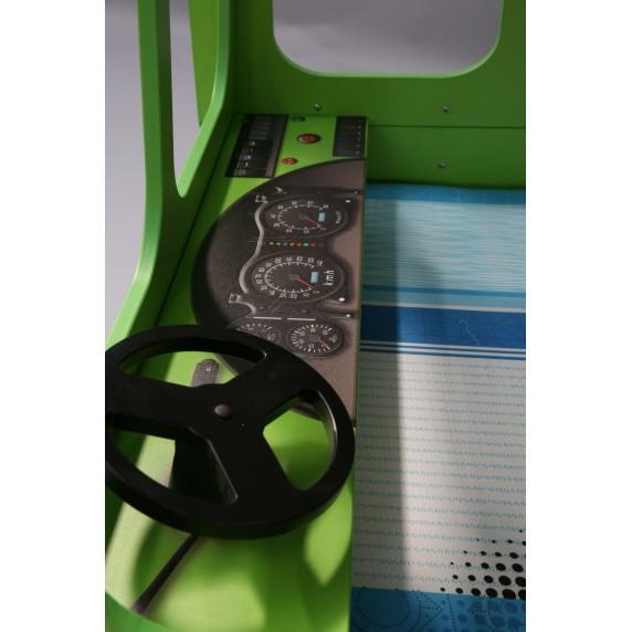 Detská poschodová postieľka Inlea4Fun Happy Bus zelená