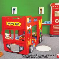 Inlea4Fun detská poschodová postieľka Happy Bus červená