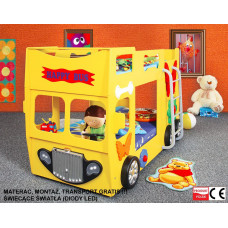 Inlea4Fun detská poschodová postieľka Happy Bus žltá Preview