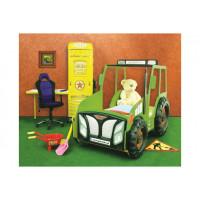 Inlea4Fun detská postieľka Traktor zelená