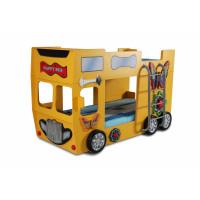 Detská poschodová postieľka Inlea4Fun Happy Bus - žltá