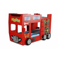 Detská poschodová postieľka Inlea4Fun Happy Bus - červená