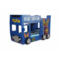 Detská poschodová postieľka Inlea4Fun Happy Bus - modrá