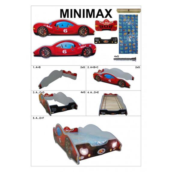 Detská postieľka Inlea4Fun Minimax - malá červená