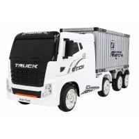 Elektrický kamión s prívesom a kontajnerom Inlea4Fun - biely
