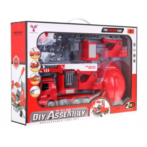 Detské hasičské auto s prilbou Inlea4Fun DIY ASSEMBLY