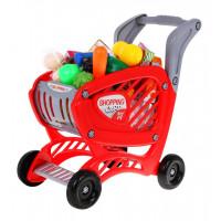 Inlea4Fun SHOPPING CART Nákupný vozík s potravinami - červený