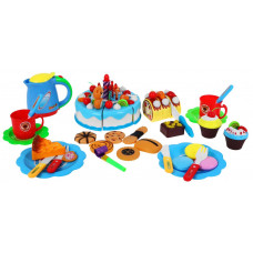 Inlea4Fun detská krájacia torta SWEET CAKE s 80 doplnkami - modrá Preview