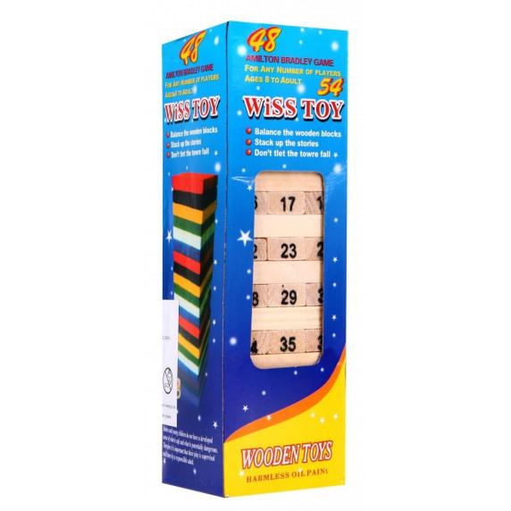 Inlea4Fun Wiss Toy Jenga drevená spoločenská hra