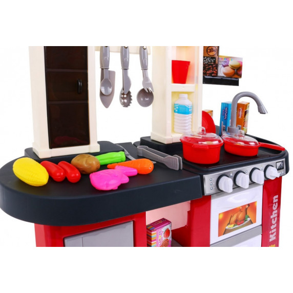 Inlea4Fun TALENTED CHEF Detská kuchynka so svetelnými a zvukovými efektmi s 58 doplnkami - červená
