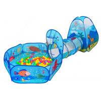 Inlea4Fun TENT INTERESTING Detský hrací stan so spojovacím tunelom, suchým bazénom a loptičkami