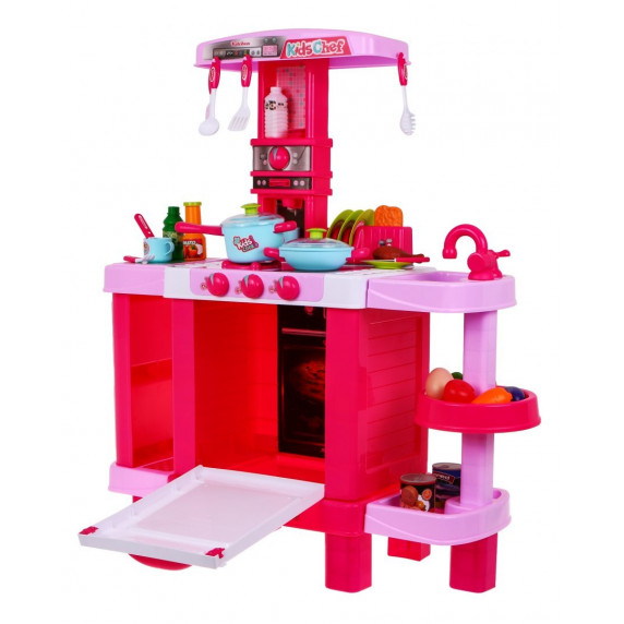 Detská kuchynka so svetelnými a zvukovými efektmi a doplnkami Inlea4Fun KIDS COOK - ružová