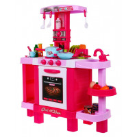 Inlea4Fun KIDS COOK Detská kuchynka so svetelnými a zvukovými efektmi a doplnkami - ružová