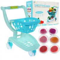 Nákupný vozík s doplnkami Inlea4Fun SHOPPING CART SERIES - modrý