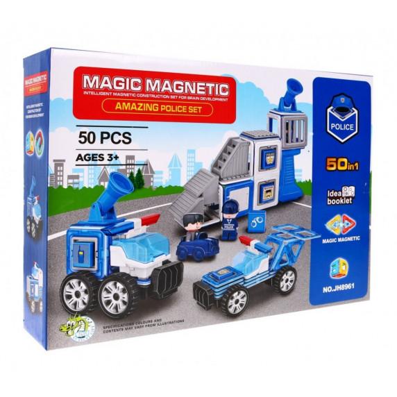Magnetická stavebnica Policajná stanica 50 ks Inlea4Fun MAGIC MAGNETIC