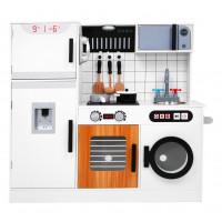 Detská interaktívna drevená kuchynka + darčeková kuchynská sada Inlea4Fun ELLA - biela