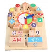 Drevené vzdelávacie hodiny s kockami Inlea4Fun