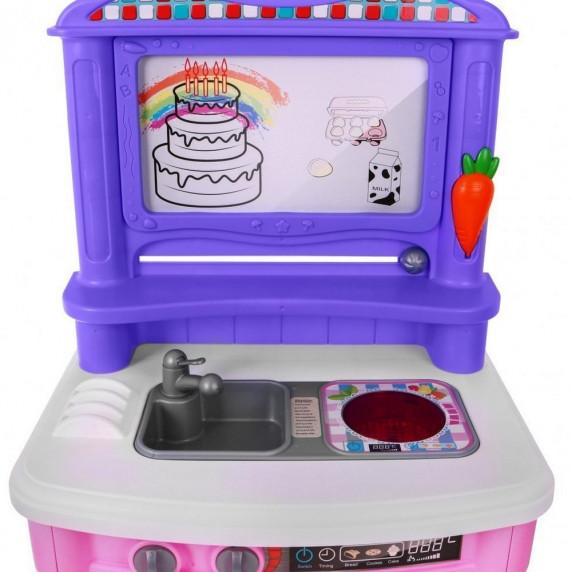 Veľká detská kuchynka Super Šéf s tečúcou vodou Inlea4Fun + príslušenstvo-  ružová