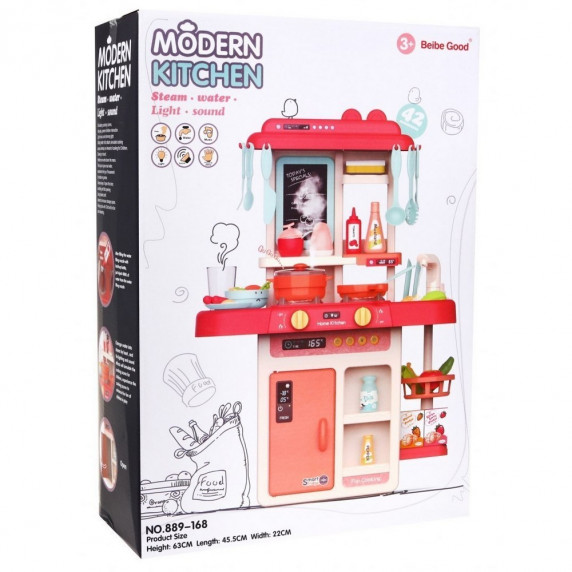 Inlea4Fun MODERN KITCHEN detská kuchynka so 42 doplnkami - ružová