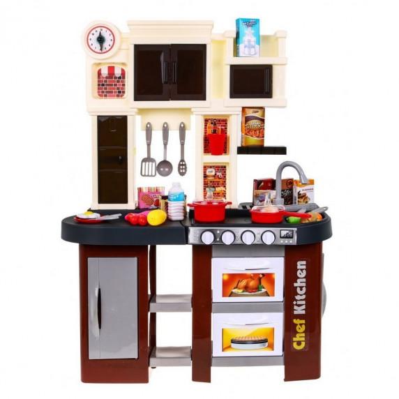 Inlea4Fun TALENTED CHEF Detská kuchynka so svetelnými a zvukovými efektmi s 58 doplnkami - hnedá