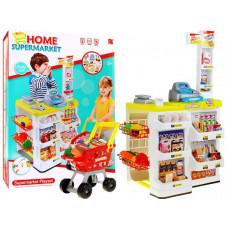 Inlea4Fun Stragan Detský supermarket s nákupným vozíkom - žltý