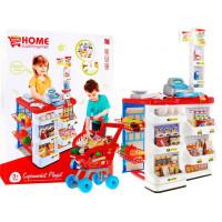 Inlea4Fun Stragan Detský supermarket s nákupným vozíkom - červený