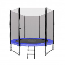 Inlea4Fun Ami Jump trampolína 250 cm s vonkajšou ochrannou sieťou + kryt pružín + rebrík - modrá