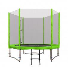 Inlea4Fun Ami Jump trampolína 250/244 cm s vonkajšou ochrannou sieťou + kryt pružín + rebrík - zelená