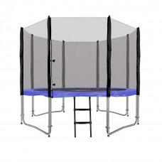 Inlea4Fun Ami Jump trampolína 305 cm s vonkajšou ochrannou sieťou + kryt pružín + rebrík - modrá
