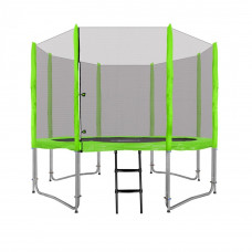 Inlea4Fun Ami Jump trampolína 305 cm s vonkajšou ochrannou sieťou + kryt pružín + rebrík - zelená