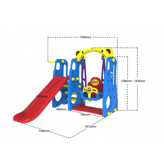 Inlea4fun LION Záhradné ihrisko 3v1 s hojdačkou a šmykľavkou - modré