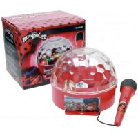 REIG Miraculous - Kúzelná Lienka a Čierna Mačka disko guľa s mikrofónom a svetlom