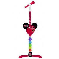 Svietiaci MP3 mikrofón so stojanom REIG 5253 Minnie Mouse