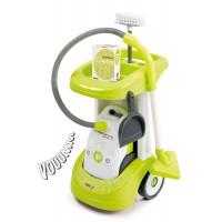 Detský upratovací vozík Smoby Rowenta s vysávačom a 3 doplnkami so zvukom zelený