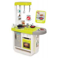 Detská kuchynka Bon Appetit Smoby so zvukom, opečenými potravinami a 25 doplnkami zelená