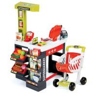 Detský elektronický obchod Supermarket Smoby s pokladňou červeno-zelený so 41 doplnkami
