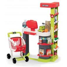 Detský elektronický obchod City Shop Smoby s pokladňou so zvukom a svetlom a 41 doplnkov červený Preview