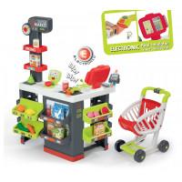 Detský obchod s vozíkom, elektronickou pokladňou a skenerom Supermarket Smoby so 42 doplnkami