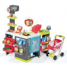 Detský obchod so zmiešaným tovarom Maxi Market Smoby s elektronickou pokladňou, skenerom a 50 doplnkami Preview