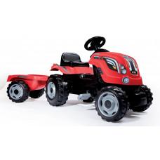 Detský šliapací traktor Farmer XL Smoby s prívesom červený