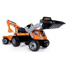 Detský traktor na šliapanie Builder Max Smoby s bagrom Preview