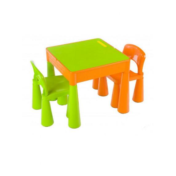 Detská sada stolček a dve lavičky - zelená/oranžová