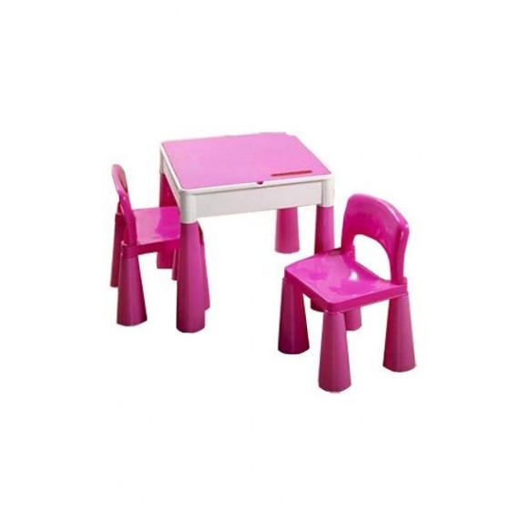 Detská sada stolček a dve lavičky - ružová