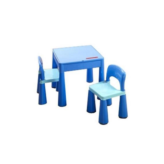 Detská sada stolček a dve lavičky - modrá